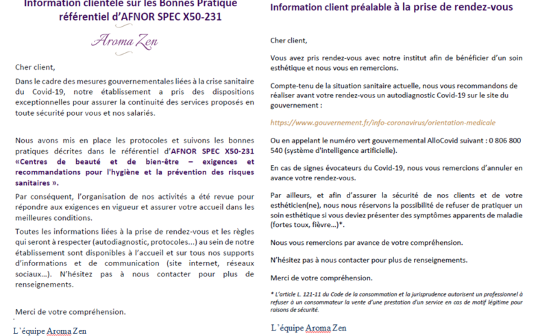 Information COVID N°2 – Norme SPEC X50-231